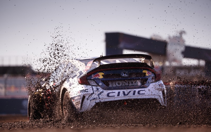 Joni Wiman slides through the dirt at Red Bull Global Rallycross in Arizona, USA on 22, May 2016